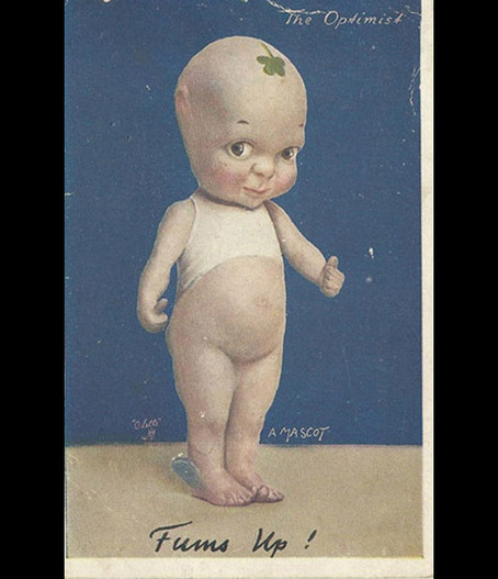 The front of Fums up postcard