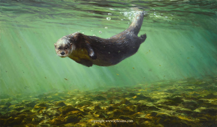 Original River Otter Oil Painting for sale
