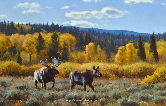 Original Moose in Wyoming Painting