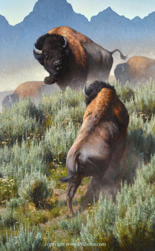 Large Original Bison Oil Painting for sale
