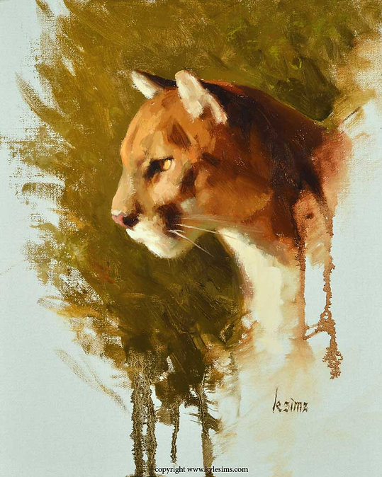 Original Mountain Lion Cougar Painting