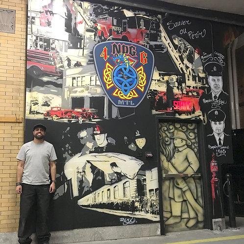 Murale en caserne (visite et croquis)