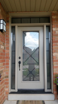 Door & 2 All Glass Sidelite with custom transom - wrought iron