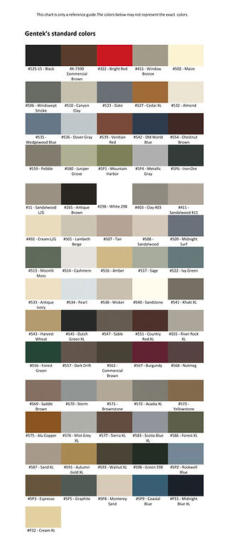 Gentek Paint Colours, Gentek Door Colours, Gentek Siding