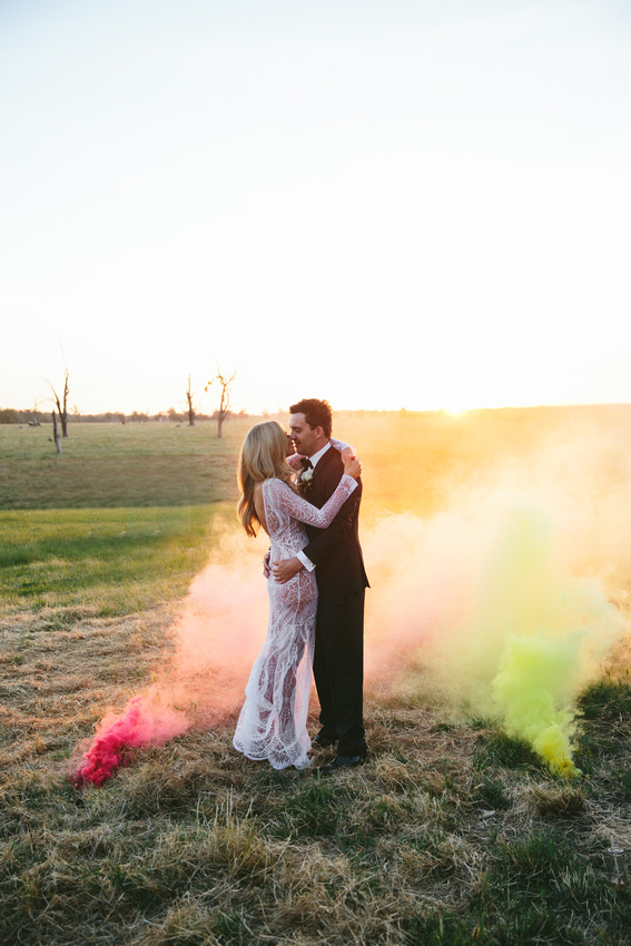 Smoke bombs in wedding photos