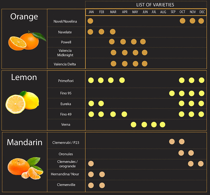 Citrus products, orange, lemon, mandarine