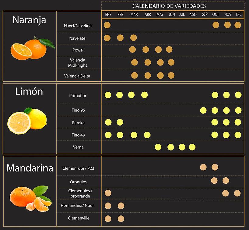 Cítricos con hoja, naranja, limón, mandarina