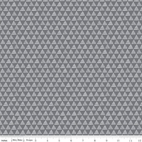 Purrfect Day Triangles Dk Gray - Riley Blake