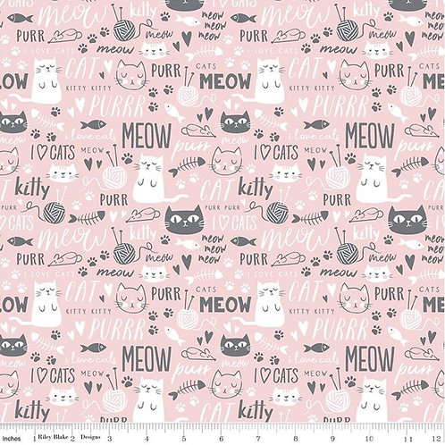 Purrfect Day Text Pink - Riley Blake