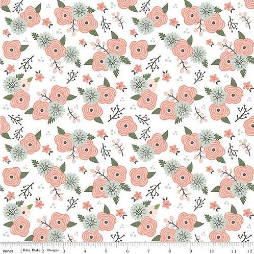 Modern Farmhouse Floral White Sparkle - Riley Blake