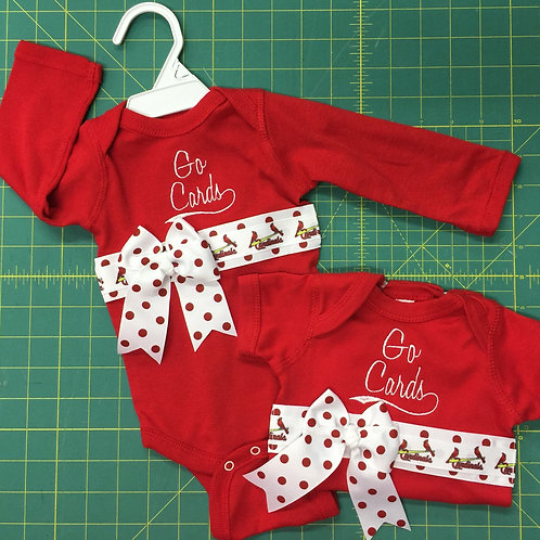 SALE St Louis Cardinals Red One-Piece with Ribbon & Bow