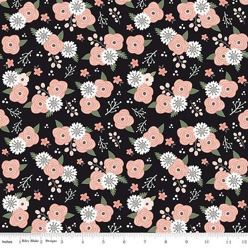 Modern Farmhouse Floral Black Sparkle - Riley Blake