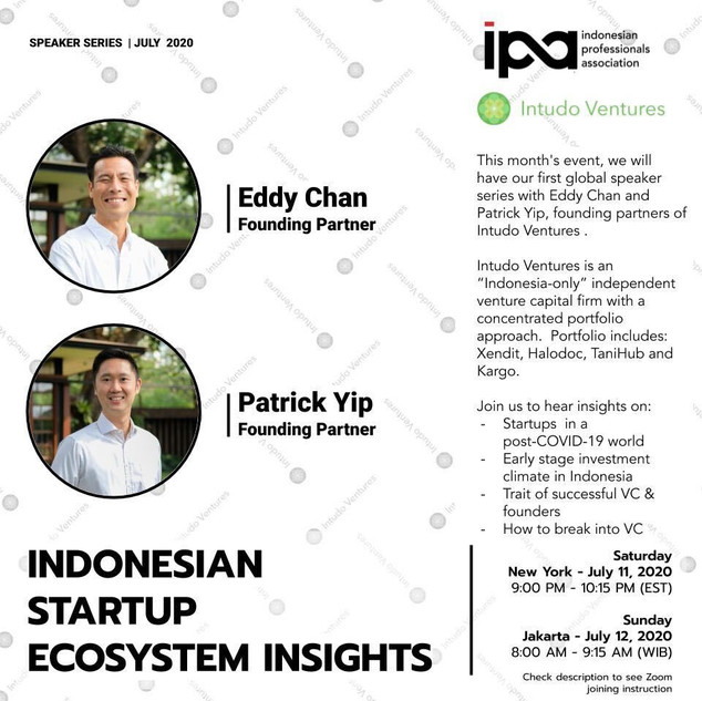 IPA July Monthly Event - Speaker Series with Intudo Ventures