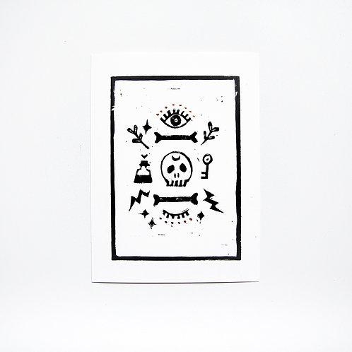 Linoldruck 'Secret of life and death'