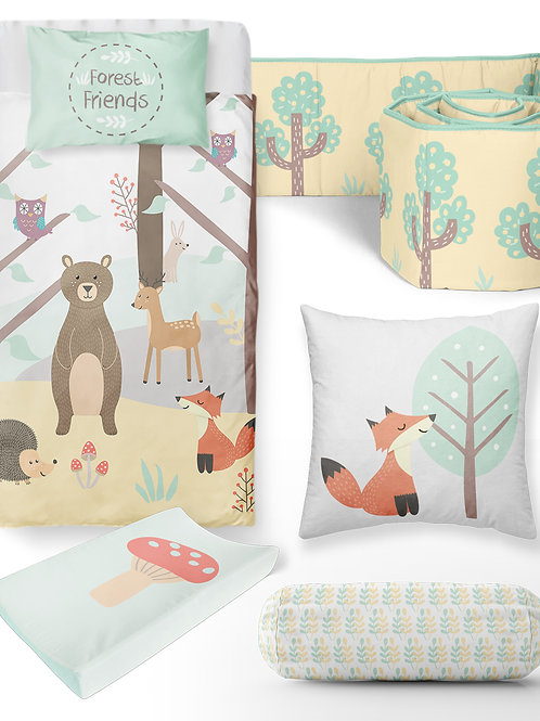 6 Piece Forest Friends Baby Bedding