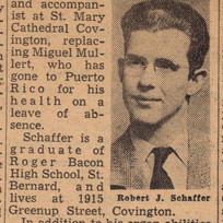 Cincinnati Post column announcing new organist, Robert Schaffer, in 1949