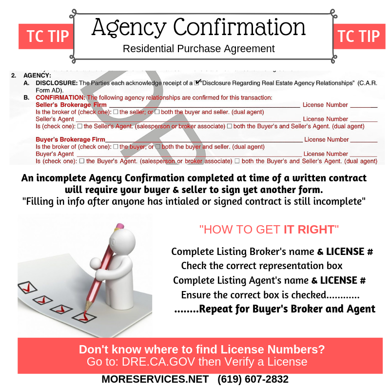 TC TIP example on completing Agency Confirmation in the California Residential Purchase Agreement