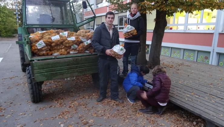 Das Kartoffelprojekt der 3./4.Klassen endet mit dem Kartoffelverkauf auf dem Pausenhof