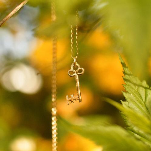 Solid Gold Garden Key Pendant