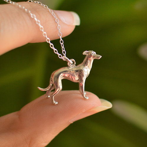 Solid Gold Whippet Dog Pendant