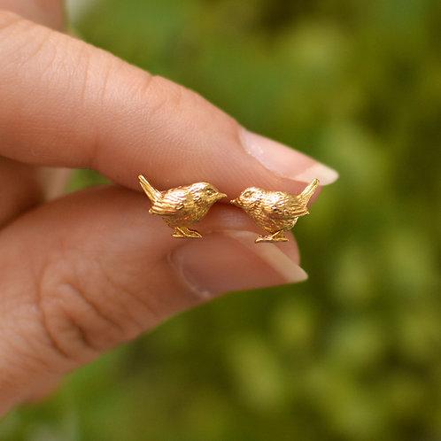 Tiny Wren Earrings Solid Gold