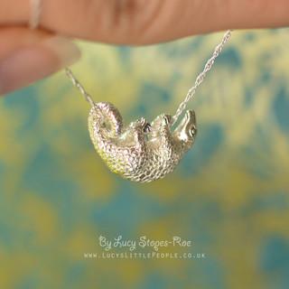 silver pangolin pendant