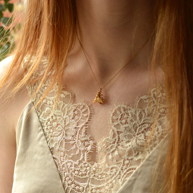 Gold Honey Bee Pendant