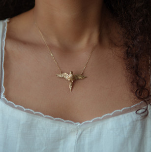 Gold Flying Parrot Necklace