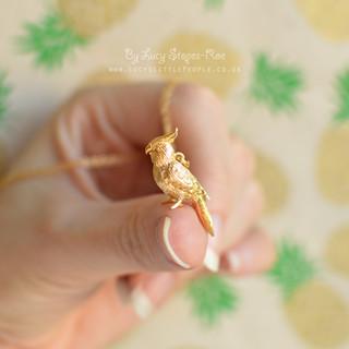 Gold Cockatiel Pendant