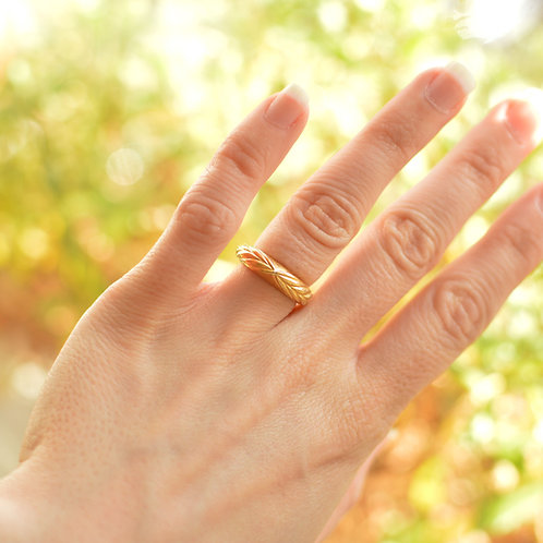 Solid Gold Wheat Ring
