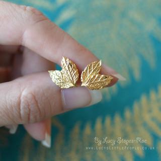 Gold Mint Leaf Earrings
