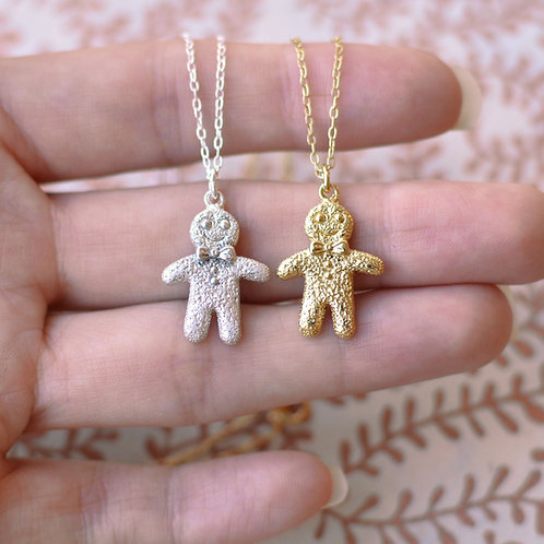 Solid Gold Gingerbread Pendant
