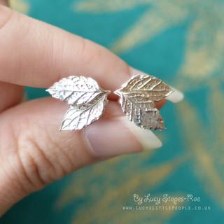 Silver Mint Leaf Studs