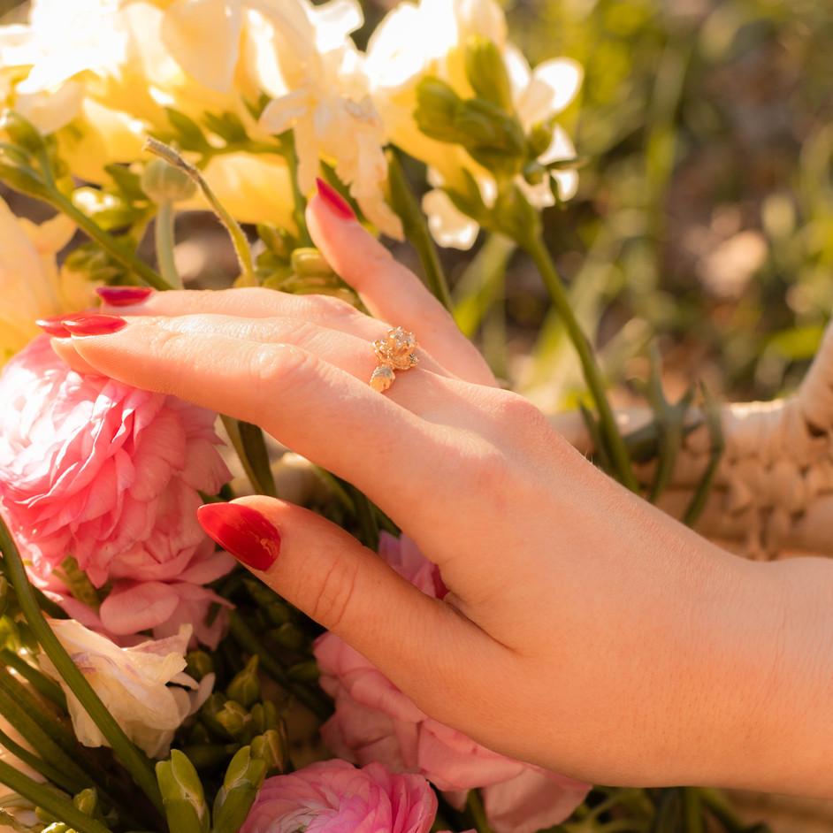 Gold Wild Rose Ring