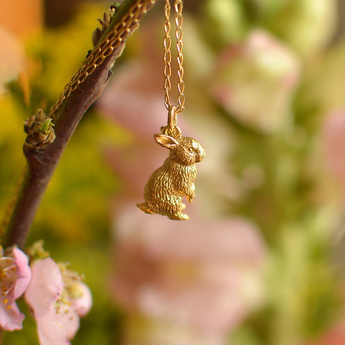 Solid Gold Little Rabbit Pendant