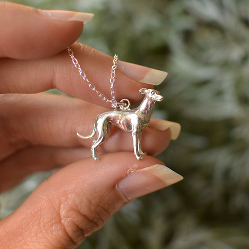 Whippet Dog Pendant Solid Gold