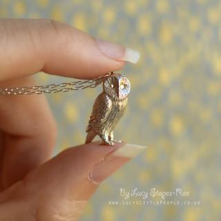 Silver Barn Owl Pendant