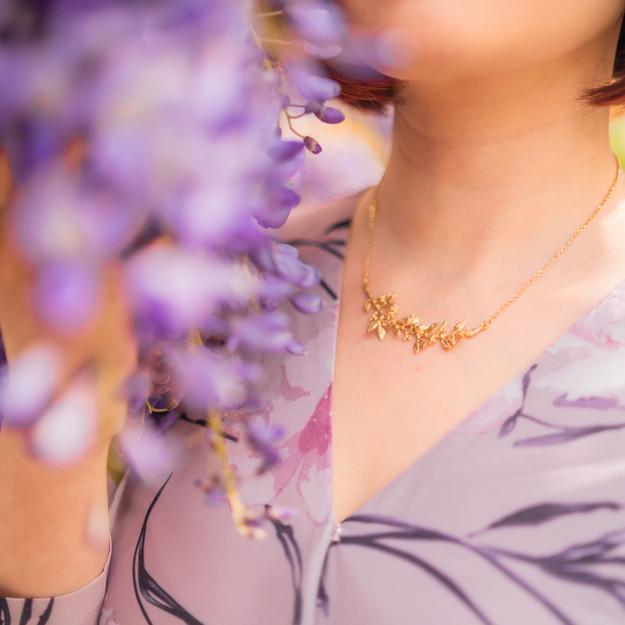 Gold Laurel Branch and Wren Necklace