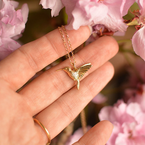Solid Gold Hummingbird Pendant
