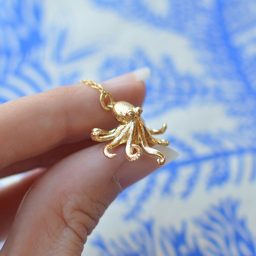 Solid Gold Octopus Pendant