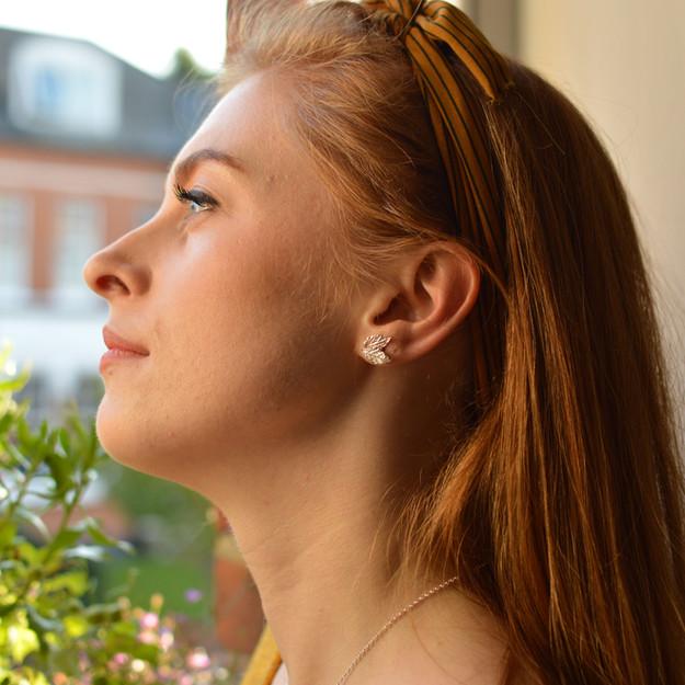 Silver Mint Leaf Earrings