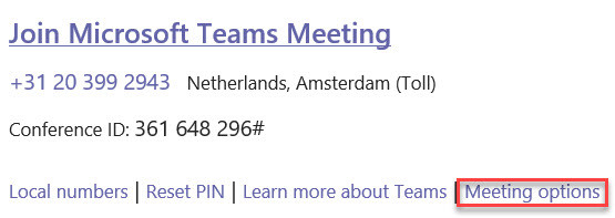 An image showing the Meeting Options link in a Teams meeting invite in Outlook