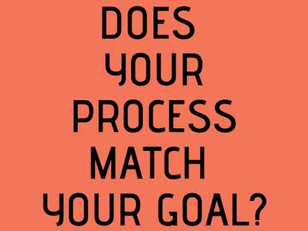 DOES YOUR PROCESS MATCH YOUR GOAL?