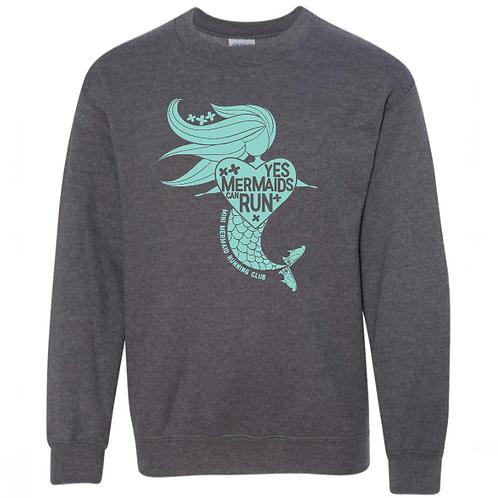 """Yes, Mermaids Can Run"" Adult Crew Neck Sweatshirt"