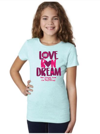 Love Run Dream Youth T-Shirt Ice Blue