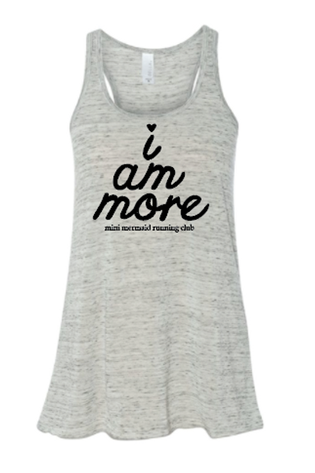 I Am More Womens Flowy Racerback Tank White Marble