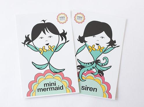 Mini Mermaid & Siren Laminated Poster Set