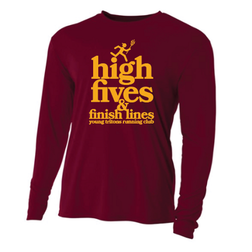 High Fives & Finish Lines Long Sleeve YOUTH tech shirt