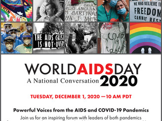 "Join ""A National Conversation"" on-line on World AIDS Day, Tuesday December 1st, 2020"