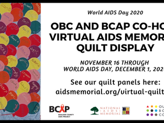 BCAP and Out Boulder County Co-Host A Virtual AIDS Memorial Quilt Display